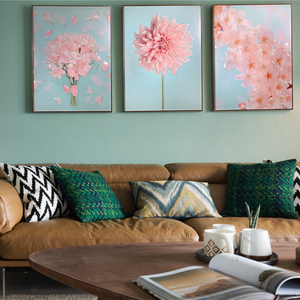 Venta al por mayor H800mm * 600mm Nordic Style Art Wall Hanging Pink Flower Painting